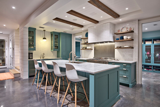 Modern victorian farmhouse kitchen austin by tim for Modern victorian kitchen design