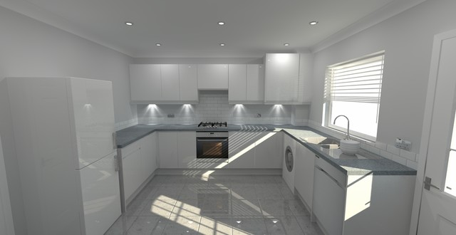 Modern Welford High Gloss White And Pewter Pebblestone Grey Kitchen - Grey and white gloss kitchen