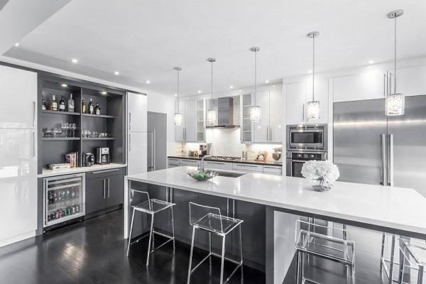 Modern White Grey Kitchen Design Oakville Moderne Cuisine Toronto Par Kitchen Land