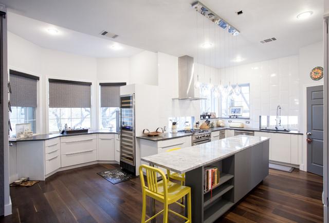 Modern White and Grey Slab Door Kitchen