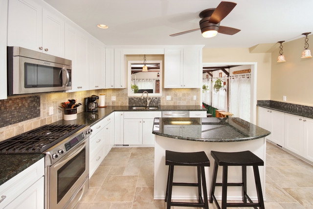 Modern White Cabinets Contemporary Kitchen Cleveland By