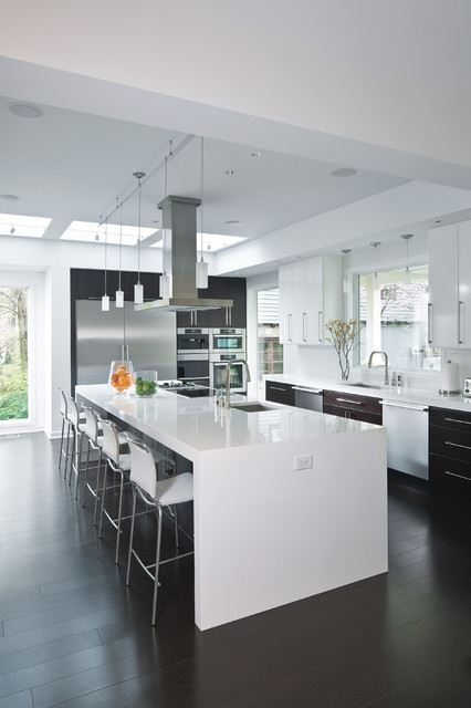 Modern White Counters Contemporary Kitchen