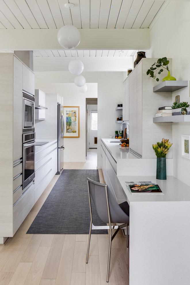 Modern White Galley Kitchen - Midcentury - Kitchen - San ...
