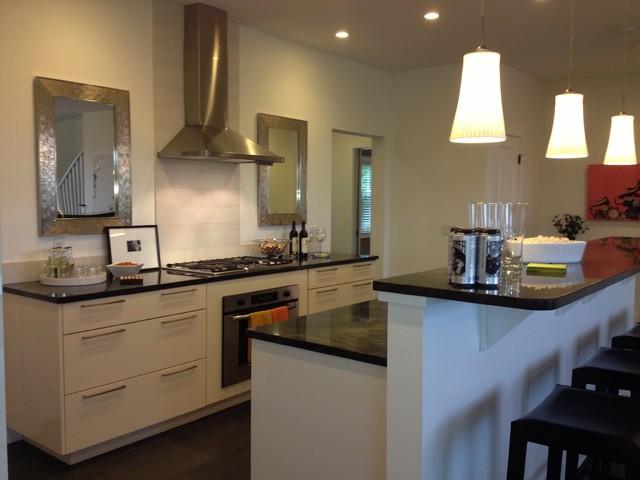 Modern white galley kitchen contemporary kitchen by for Galley kitchen designs with breakfast bar