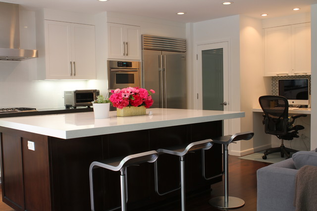White Gray Dark Brown Open Kitchen with Island contemporary kitchen