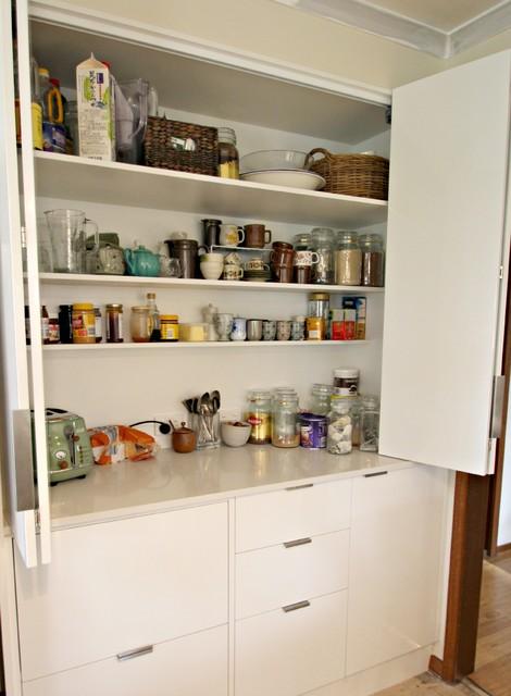 Modern White Kitchen- Bi-fold appliance cabinet - Contemporary ...