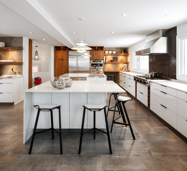 Modern White Kitchen By Astro Design Ottawa