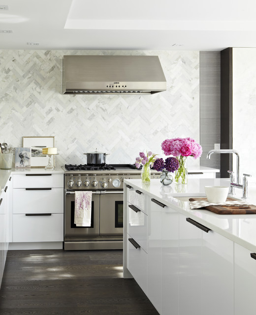 Elegant Modern White Kitchen Contemporary Kitchen