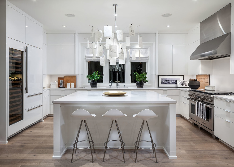 Modern white kitchen - Contemporary - Kitchen - Portland ...