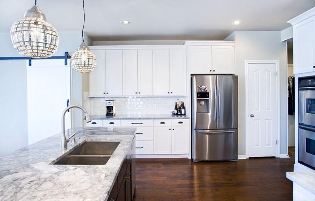Modern White Kitchen With Espresso Island Contemporary Kitchen Austin By Ub Kitchens