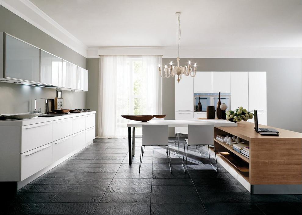 Modern white kitchen with medium wood double sided island ...