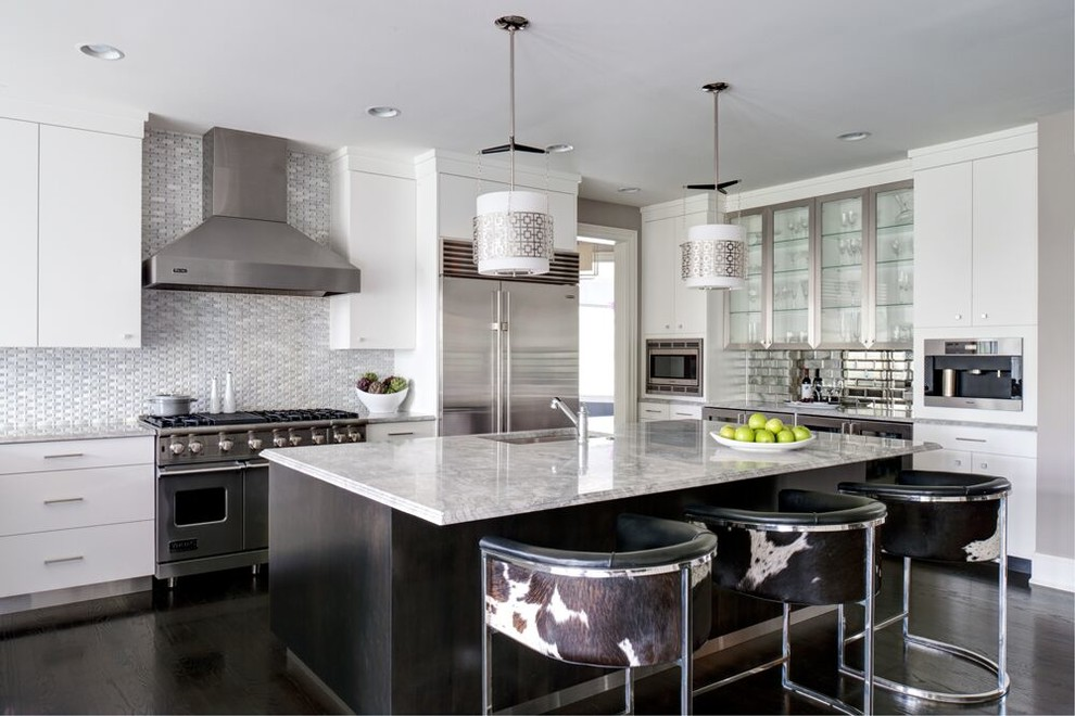 Example of a large transitional l-shaped dark wood floor open concept kitchen design in Philadelphia with an undermount sink, flat-panel cabinets, white cabinets, stainless steel appliances, an island, marble countertops, gray backsplash and mirror backsplash