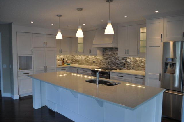 Modern white shaker kitchen modern kitchen calgary by michael burr design - Modern white kitchen design ideas ...