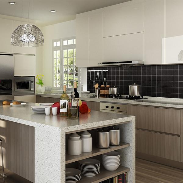 Modern Wood Grain Melamine Kitchen Cabinet OP14 M06 Kitchen