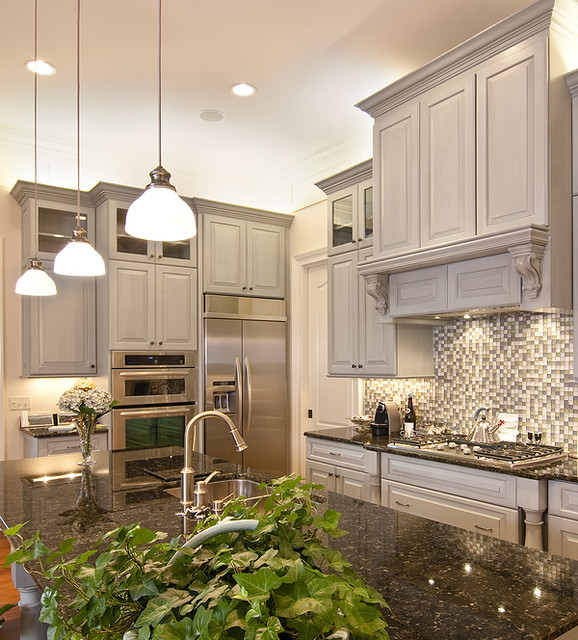 Monochromatic Kitchen Made Luxurious - Traditional