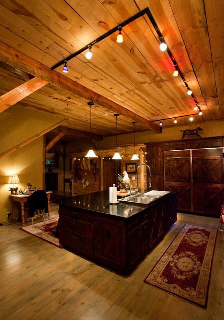 Montana Lodge Themed Barn Home Traditional Kitchen