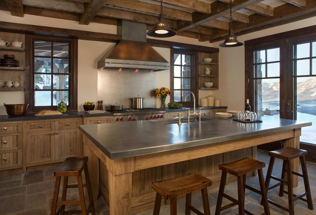 Montana Ski House Rustic Kitchen New York By