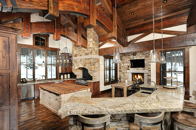 Montana Style Timber Frame Kitchen - Rustic - Kitchen - Denver - by ...