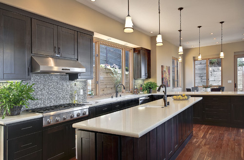light hardwood floors with dark cabinets. the bright simple