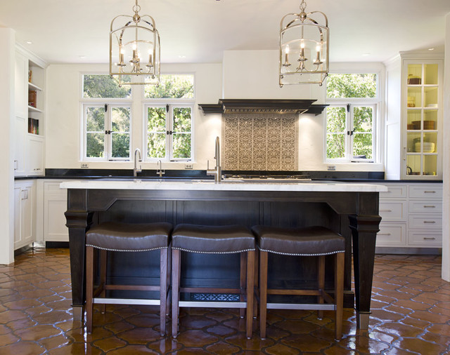 Incroyable Inspiration For A Mediterranean Kitchen Remodel In Santa Barbara With  Recessed Panel Cabinets And White