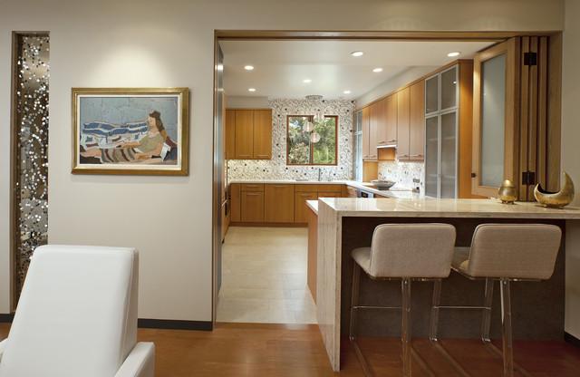 Montecito Shores Remodel Bifold Door Open Contemporain Cuisine