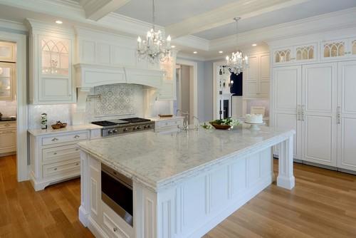 White Marble Look Kitchen Quartz Countertops Ideas