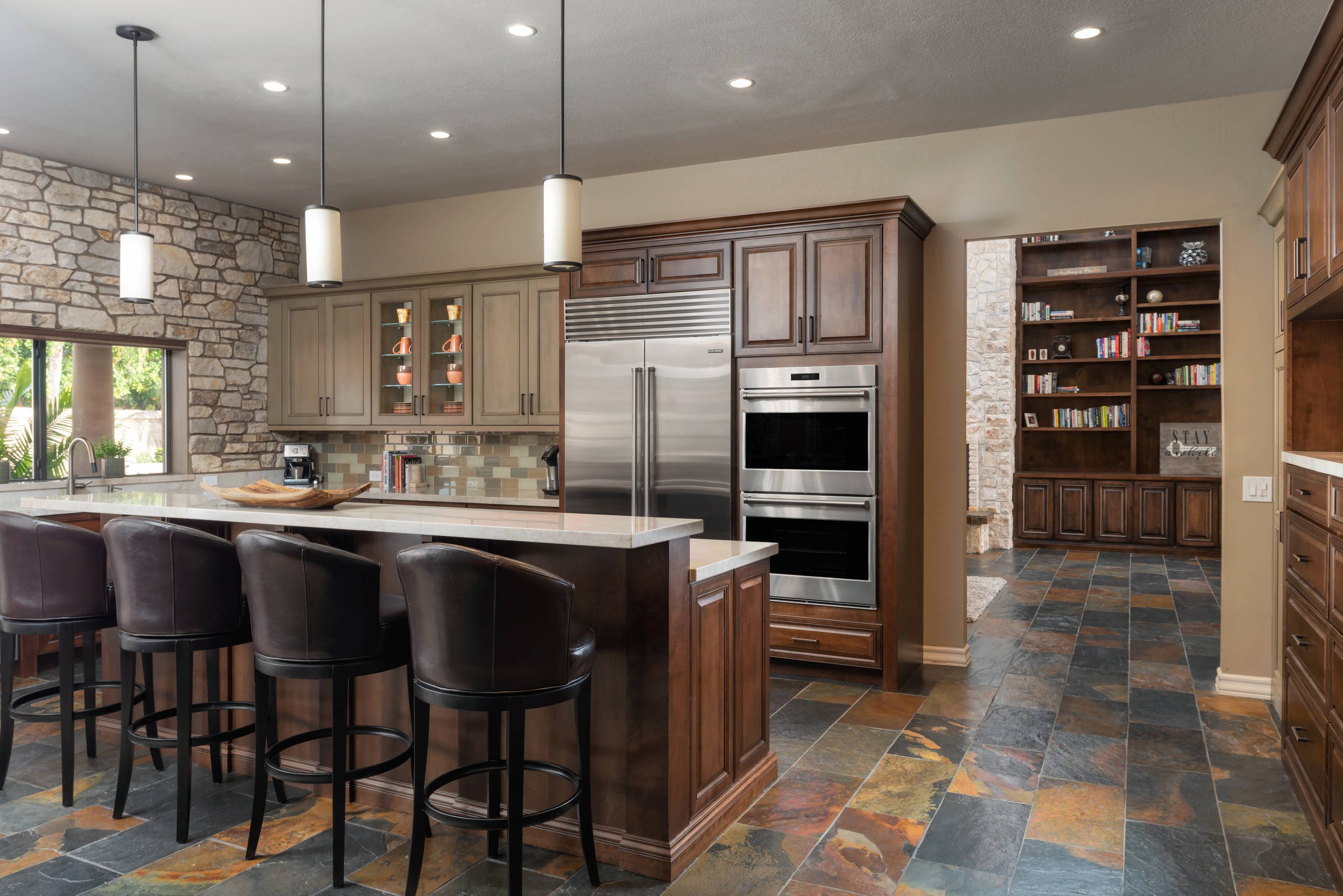 75 Beautiful Kitchen With Dark Wood Cabinets And Subway Tile Backsplash Pictures Ideas March 2021 Houzz