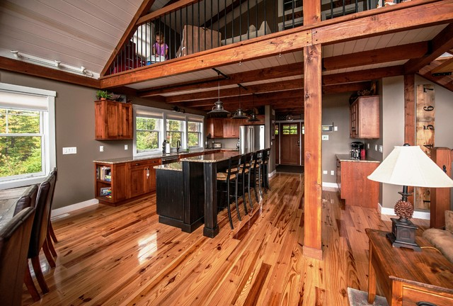 Moose Ridge Lodge Post and Beam Rustic Kitchen Portland Maine – Yankee Barn Homes Floor Plans