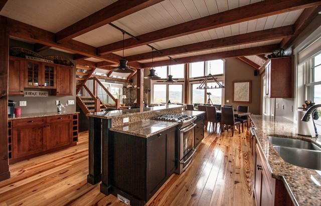 moose ridge lodge post and beam - rustic - kitchen - portland maine