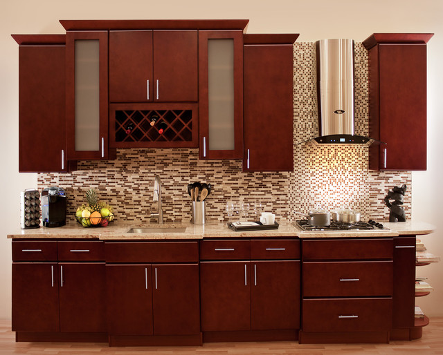 Modern Cherry Kitchen Cabinets morocco cherry collection - rta in stock kitchen cabinets