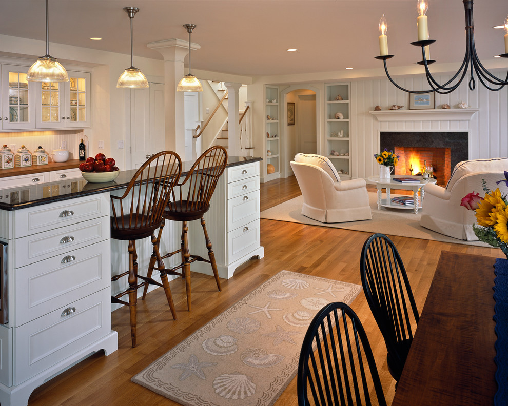 Open concept kitchen - coastal open concept kitchen idea in Boston with recessed-panel cabinets and white cabinets