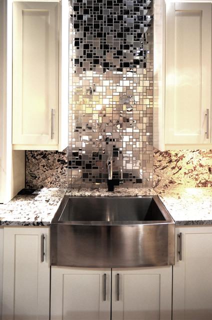 mosaic backsplash stainless french random transitional