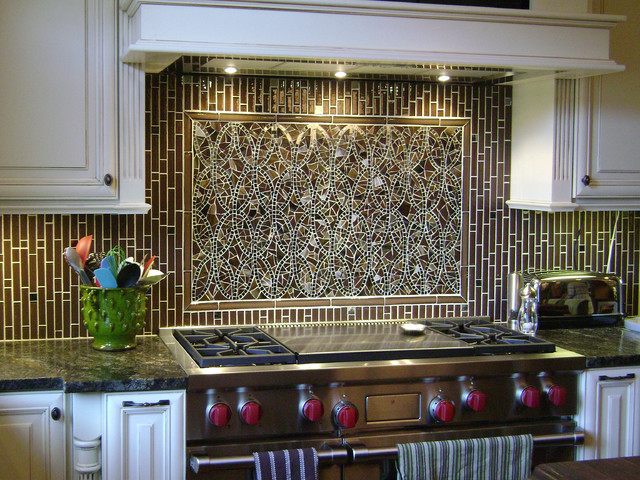Mosaic Ellipse Kitchen Backsplash and Coordinating Field Tiles modern- kitchen