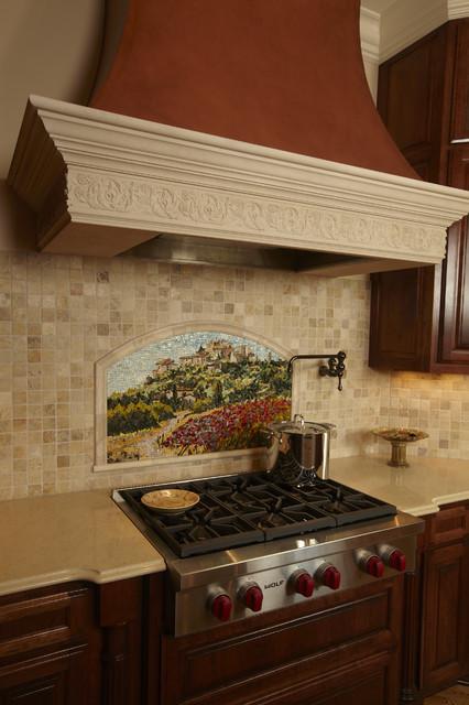 Mosaic Tile Backsplash traditional-kitchen