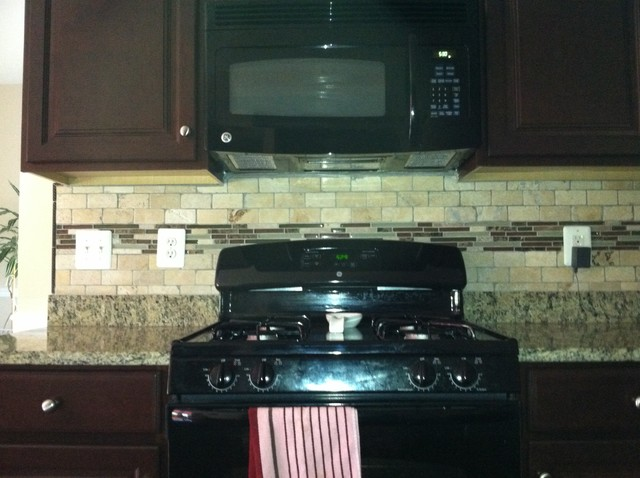 Mosaic Tiled Backsplash traditional-kitchen