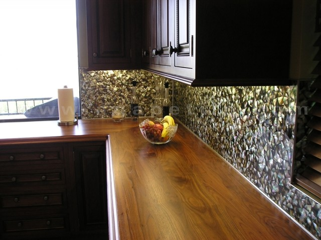 mother of pearl backsplash eclectic kitchen los angeles