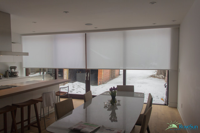 Modern Kitchen Blinds motorized blinds in the kitchen - modern - kitchen - toronto -