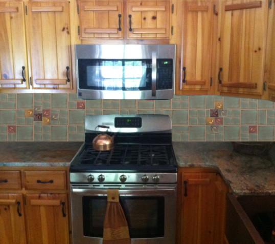 Mountain Cabin Tile Back Splash Rustic Kitchen