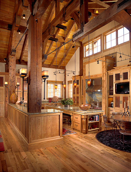 Mountain Chalet Timber Frame Rustic Kitchen Other Metro By Rocky Mountain Homes