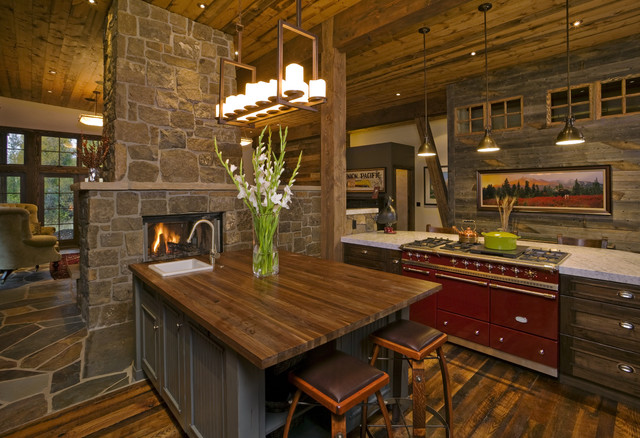 Mountain Contemporary Rustic Kitchen Denver By