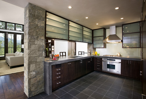 I love the frosted glass upper hanging cabinets. Where can I buy ...