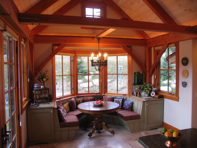 Mountain tudor for Bay window breakfast nook