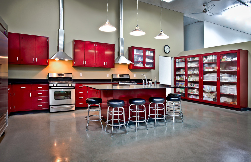 Inspiration for an industrial l-shaped kitchen remodel in Orange County with stainless steel appliances, red cabinets and flat-panel cabinets
