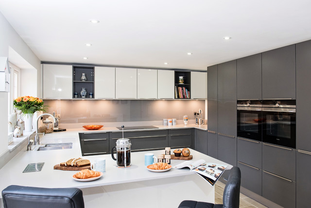 Mr mrs h kitchen byfleet village contemporary kitchen surrey by raycross interiors Kitchen design companies in surrey