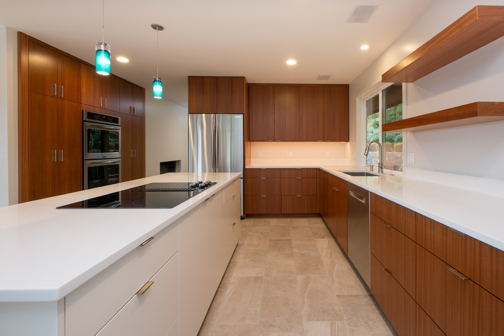 Large minimalist l-shaped porcelain tile eat-in kitchen photo in Portland with an undermount sink, flat-panel cabinets, medium tone wood cabinets, quartz countertops, stainless steel appliances and an island