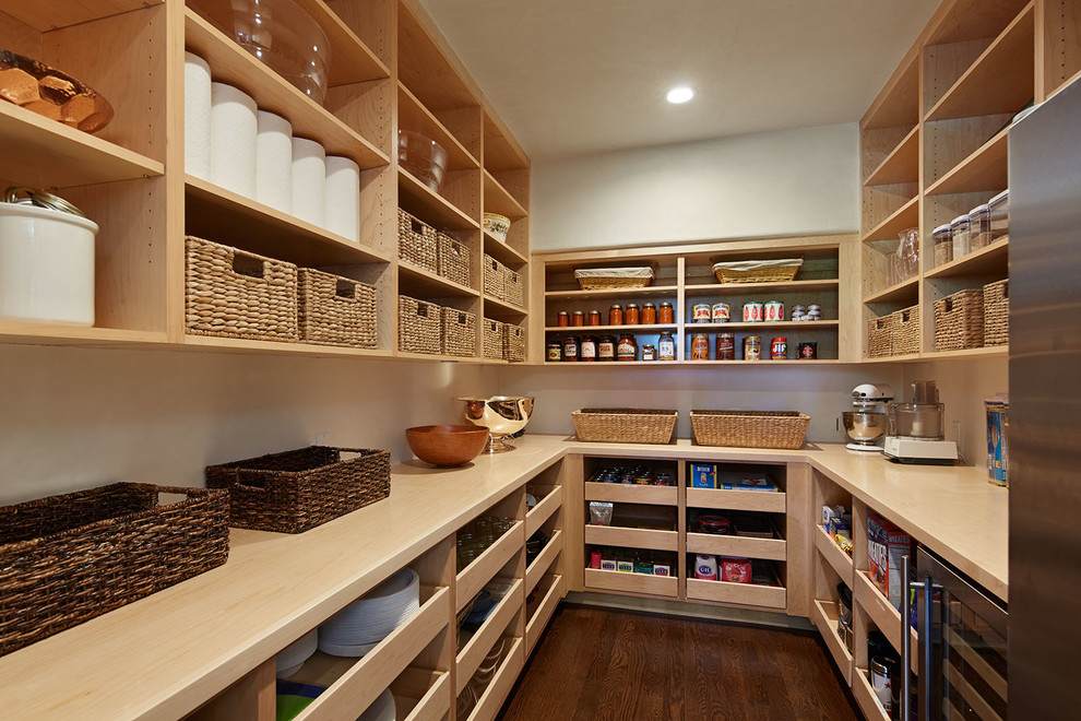 Inspiration for a timeless dark wood floor kitchen pantry remodel in San Francisco with open cabinets and light wood cabinets