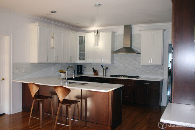 Kitchen Cabinets Light On Top And Dark On Bottom Pictures multi-tone and multi-finish kitchens - contemporary - kitchen