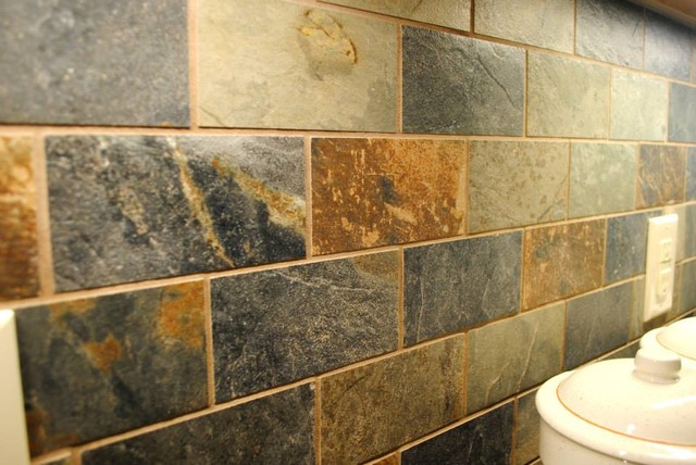 multicolored slate look backsplash traditional kitchen kitchen backsplash 4 quot slate tile on point cecejewell