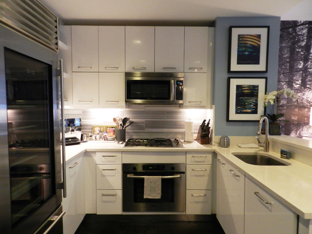 My houzz bachelor 39 s nyc pad contemporary kitchen new york by frances bailey Modern kitchen design ideas houzz
