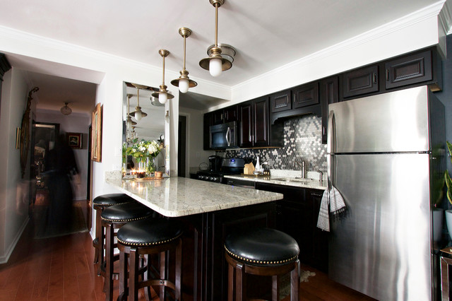 My Houzz Classic Black And White Design In A Chicago Condo Eclectic Kitchen Chicago By